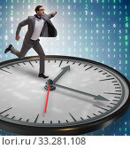Купить «Businessman in time management concept», фото № 33281108, снято 1 апреля 2020 г. (c) Elnur / Фотобанк Лори