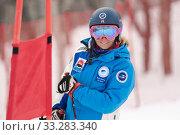 Portrait smiling mountain skier Kristina Kryukova during Russian Women Alpine Skiing Cup, International Ski Federation Championship, giant slalom (2019 год). Редакционное фото, фотограф А. А. Пирагис / Фотобанк Лори