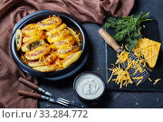 Купить «potato cakes topped with grated cheddar cheese», фото № 33284772, снято 26 декабря 2019 г. (c) Oksana Zh / Фотобанк Лори