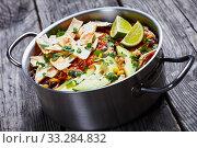 Купить «close-up of mexican shredded Chicken Taco Soup», фото № 33284832, снято 3 января 2020 г. (c) Oksana Zh / Фотобанк Лори