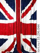 Купить «Full frame of the flag of Great Britain battered by time», фото № 33296044, снято 1 марта 2020 г. (c) Алексей Кузнецов / Фотобанк Лори