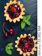 Купить «Small berry cake and ripe berries», фото № 33302164, снято 22 июня 2019 г. (c) Елена Блохина / Фотобанк Лори
