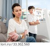 Купить «Sad woman after discord with son», фото № 33302560, снято 28 марта 2019 г. (c) Яков Филимонов / Фотобанк Лори