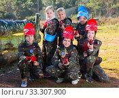 Купить «Kids ready for paintball game», фото № 33307900, снято 24 ноября 2018 г. (c) Яков Филимонов / Фотобанк Лори