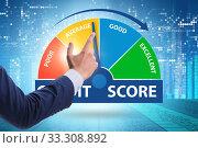 Купить «Businessman in credit score concept», фото № 33308892, снято 5 апреля 2020 г. (c) Elnur / Фотобанк Лори
