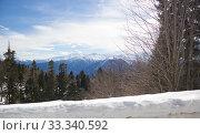 Купить «Beautiful mountains covered with snow. Sunny day and blue sky on a frosty day», фото № 33340592, снято 5 марта 2019 г. (c) Олег Хархан / Фотобанк Лори