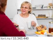 Купить «Positive old women drinking tea at the table», фото № 33343440, снято 22 ноября 2017 г. (c) Яков Филимонов / Фотобанк Лори