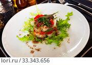 Купить «Cod timbale with roasted red peppers and arugula», фото № 33343656, снято 6 апреля 2020 г. (c) Яков Филимонов / Фотобанк Лори