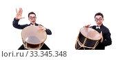 Купить «Funny man with drum on white», фото № 33345348, снято 13 мая 2013 г. (c) Elnur / Фотобанк Лори