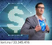 Купить «Superhero saving american dollar currency», фото № 33345416, снято 4 июля 2020 г. (c) Elnur / Фотобанк Лори