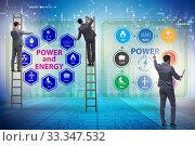 Купить «Energy mix concept with businessman», фото № 33347532, снято 26 марта 2020 г. (c) Elnur / Фотобанк Лори