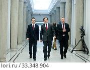 N/z Patryk Jaki, Zbigniew Ziobro, Jacek Kurski 11.01.2013 Warszawa, Sejm. Редакционное фото, фотограф Andrzejewski Maciej / age Fotostock / Фотобанк Лори