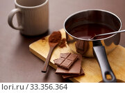 Купить «pot with hot chocolate, mug and cocoa powder», фото № 33356364, снято 1 февраля 2019 г. (c) Syda Productions / Фотобанк Лори