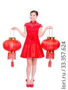 Купить «Young asian woman in red cheongsam holds red lantern in chinese new year», фото № 33357624, снято 14 июля 2020 г. (c) age Fotostock / Фотобанк Лори
