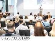 Купить «Male business speaker giving a talk at business conference event.», фото № 33361600, снято 15 июня 2018 г. (c) Matej Kastelic / Фотобанк Лори