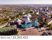 Купить «Aerial view of city of Kursk with bulidings and church», фото № 33365432, снято 3 мая 2019 г. (c) Яков Филимонов / Фотобанк Лори