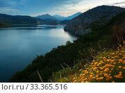 Купить «Summer mountains landscape with lake in twilight», фото № 33365516, снято 28 мая 2020 г. (c) Яков Филимонов / Фотобанк Лори