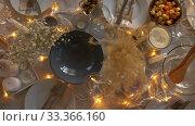 Купить «dinner party table serving at home», видеоролик № 33366160, снято 9 февраля 2020 г. (c) Syda Productions / Фотобанк Лори