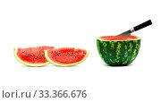 Купить «Big red watermelon isolated on white background», фото № 33366676, снято 29 марта 2020 г. (c) age Fotostock / Фотобанк Лори