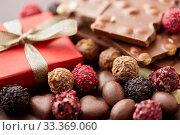 Купить «close up of handmade chocolate candies», фото № 33369060, снято 1 февраля 2019 г. (c) Syda Productions / Фотобанк Лори