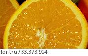 Купить «Lemon cut in half. Camera moves from bottom up.», видеоролик № 33373924, снято 22 октября 2016 г. (c) Gennadiy Poznyakov / Фотобанк Лори