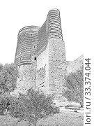 Купить «Maidens Tower. Fortress of the Old Sity Baku. Historical core of Azerbaijan Baku.», иллюстрация № 33374044 (c) Евгений Ткачёв / Фотобанк Лори