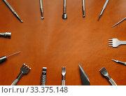 Leather crafting DIY tools lies on natural brown leather. Стоковое фото, фотограф Бражников Андрей / Фотобанк Лори