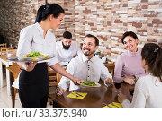 Купить «Chatting adults in cafe and smiling waitress», фото № 33375940, снято 17 января 2017 г. (c) Яков Филимонов / Фотобанк Лори