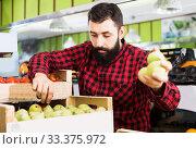 Купить «Assistant demonstrating pears», фото № 33375972, снято 15 ноября 2016 г. (c) Яков Филимонов / Фотобанк Лори