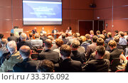 Купить «Round table discussion at business conference event.», фото № 33376092, снято 13 мая 2014 г. (c) Matej Kastelic / Фотобанк Лори