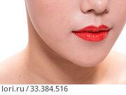 Купить «Facial makeup of young asian beautiful woman on white background», фото № 33384516, снято 26 мая 2020 г. (c) age Fotostock / Фотобанк Лори