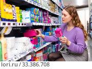 Купить «customer choosing personal hygiene items», фото № 33386708, снято 3 июля 2020 г. (c) Яков Филимонов / Фотобанк Лори