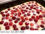 Купить «Raw cherry pie on a baking sheet», фото № 33387608, снято 11 марта 2020 г. (c) Володина Ольга / Фотобанк Лори