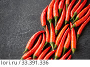 Купить «red chili or cayenne pepper on slate stone surface», фото № 33391336, снято 6 сентября 2018 г. (c) Syda Productions / Фотобанк Лори