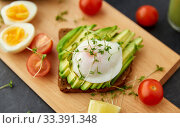 toast bread with avocado, eggs and cherry tomatoes. Стоковое фото, фотограф Syda Productions / Фотобанк Лори