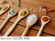 Купить «spoons with spices and salt on wooden table», фото № 33391640, снято 6 сентября 2018 г. (c) Syda Productions / Фотобанк Лори
