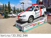 Купить «Lada 1117 Kalina», фото № 33392344, снято 28 июля 2012 г. (c) Art Konovalov / Фотобанк Лори