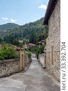 Купить «Street with stone houses in the village close-up», фото № 33392704, снято 13 сентября 2019 г. (c) Татьяна Ляпи / Фотобанк Лори