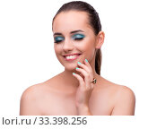 Young woman in beauty concept isolated on white. Стоковое фото, фотограф Elnur / Фотобанк Лори