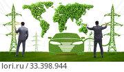 Купить «Electric car and green energy concept», фото № 33398944, снято 10 июля 2020 г. (c) Elnur / Фотобанк Лори