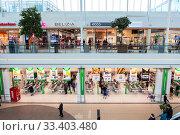 Купить «The Prisma family-friendly supermarket is on lower floor in the Jumbo mall, Vantaa. Хельсинки», фото № 33403480, снято 5 апреля 2018 г. (c) Кекяляйнен Андрей / Фотобанк Лори