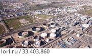 Купить «View of chemical factory complex near Salou, Spain», видеоролик № 33403860, снято 24 апреля 2019 г. (c) Яков Филимонов / Фотобанк Лори