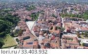 Купить «Aerial view on the city Gorizia. Italy», видеоролик № 33403932, снято 3 сентября 2019 г. (c) Яков Филимонов / Фотобанк Лори