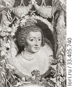 Anne of Austria, 1601 - 1666. Queen Consort of France and regent for her son Louis XIV of France. From a 17th century engraving after a work by Peter Paul Rubens. (2019 год). Редакционное фото, фотограф Classic Vision / age Fotostock / Фотобанк Лори