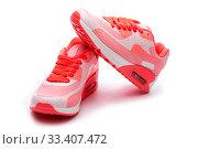 Купить «Летние женские яркие кроссовки на белом фоне», фото № 33407472, снято 9 марта 2020 г. (c) V.Ivantsov / Фотобанк Лори
