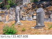 Купить «Ancient Greek city Priene on the western coast of Turkey», фото № 33407608, снято 20 июля 2019 г. (c) Sergii Zarev / Фотобанк Лори