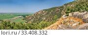 Купить «Panoramic top view from the side of the ancient city of Priene, Turkey», фото № 33408332, снято 20 июля 2019 г. (c) Sergii Zarev / Фотобанк Лори