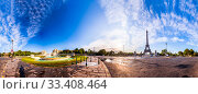 The Eiffel Tower seen from Pont d'Iena in Paris, France. 360 degree panoramic view. Стоковое фото, фотограф Ints VIkmanis / Фотобанк Лори