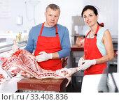 Купить «Adult man and woman demonstration quality porks», фото № 33408836, снято 22 июня 2018 г. (c) Яков Филимонов / Фотобанк Лори