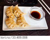 Купить «Japanese food gyoza dumplings with meat and shrimp», фото № 33409008, снято 9 апреля 2020 г. (c) Яков Филимонов / Фотобанк Лори